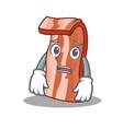 afraid bacon mascot cartoon style vector image vector image