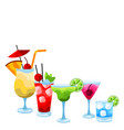 background with alcohol cocktails vector image