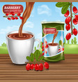 black tea ad with barberry fruit and pack vector image vector image