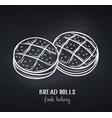 bread rolls chalkboard style vector image vector image