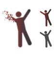 broken pixel halftone man joy icon vector image vector image