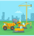building process concept vehicle cartoon style vector image vector image
