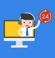businessman on computer screen with head phone vector image