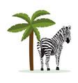 cartoon zebra standing tropical palm tree vector image vector image