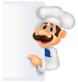 Chef cartoon with blank sign vector image vector image