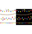 christmas lights set four lightbulb glowing vector image