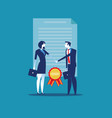 cooperation two successful shaking hands concept vector image