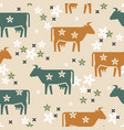 cute seamless pattern farm animals cows vector image