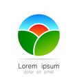 Ecological natural landscape logo template vector image vector image