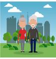elderly couple park city background vector image