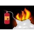 Fire Extinguisher which extinguishes fire on Black vector image vector image