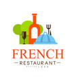 french restaurant logo design authentic vector image