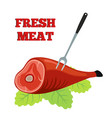 fresh meat label pork ham with barbecue fork vector image vector image