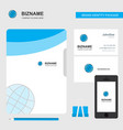 globe business logo file cover visiting card and vector image vector image
