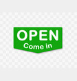 green signboard with information open come in vector image