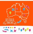 Hand drawn Australia travel map with pins vector image vector image