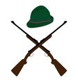 Hat and rifle vector image vector image