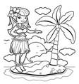 hawaiian woman hula dancer on a tropical island vector image vector image