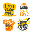 home made bakery culinary logotype set vector image