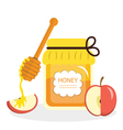 Honey and apples greeting card for the Jewish New vector image vector image
