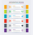 infographics tab in horizontal paper index with 6 vector image vector image