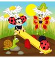 ladybugs swinging on swing vector image