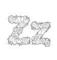 letter z made of flowers vector image vector image