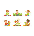 little kids playing with vegetables set vector image vector image