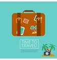 Luggage Leather suitcase with Travel Sticker vector image