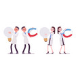 male and female scientist and giant things vector image vector image