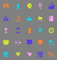 Marketing strategy color icons on grey background vector image vector image