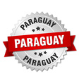 Paraguay round silver badge with red ribbon vector image vector image