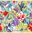 patchwork tropic red blue yellow pattern vector image vector image