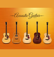 realistic acoustic guitar collection design vector image