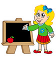 school girl writing on blackboard vector image
