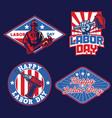 set badge labor day design vector image vector image