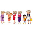 set grandmother in different clothes doing vector image