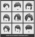 set of womens hairstyles vector image