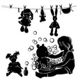 silhouette little girl washes toys vector image vector image
