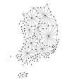 south korea map of polygonal mosaic lines network vector image