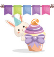 sweet and delicious cupcake with rabbit vector image vector image