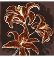 The lillies branch drawn in vintage style vector image vector image