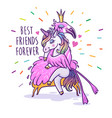 unicorn with flamingo best friends forever vector image vector image