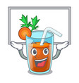 up board character healthy carrot smoothie for vector image vector image