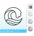 wave sea simple black thin line splash icon vector image vector image