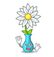 waving character cartoon glass vase with flowers vector image