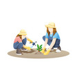 woman and girl gardening together vector image vector image