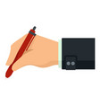 writing hand red pen icon flat style vector image