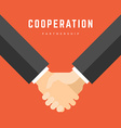 Business man holding hands partnership cooperation vector image