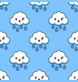 cartoon seamless pattern cloud rainy cute kawaii vector image